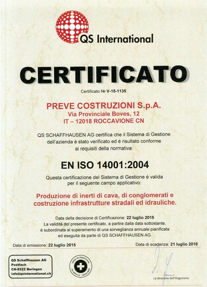 SISTEMA DI GESTIONE AMBIENTALE Certificato QS PREVE 14001